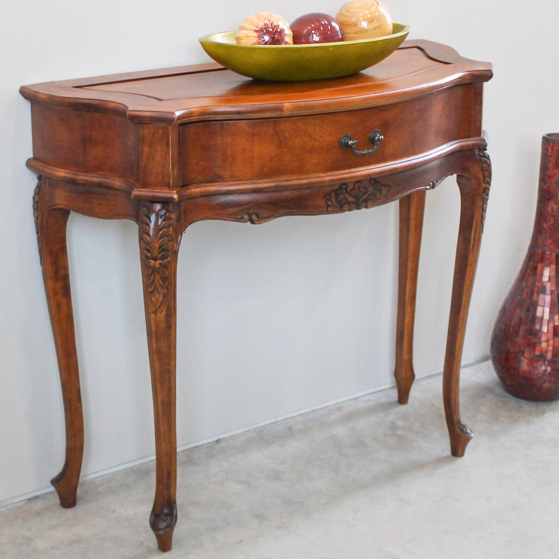 International Caravan Windsor Hand Carved e Drawer Hall Table
