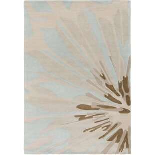 Inexpensive Dino Hand-Tufted Wool Antique White/Brown Area Rug By Ivy Bronx