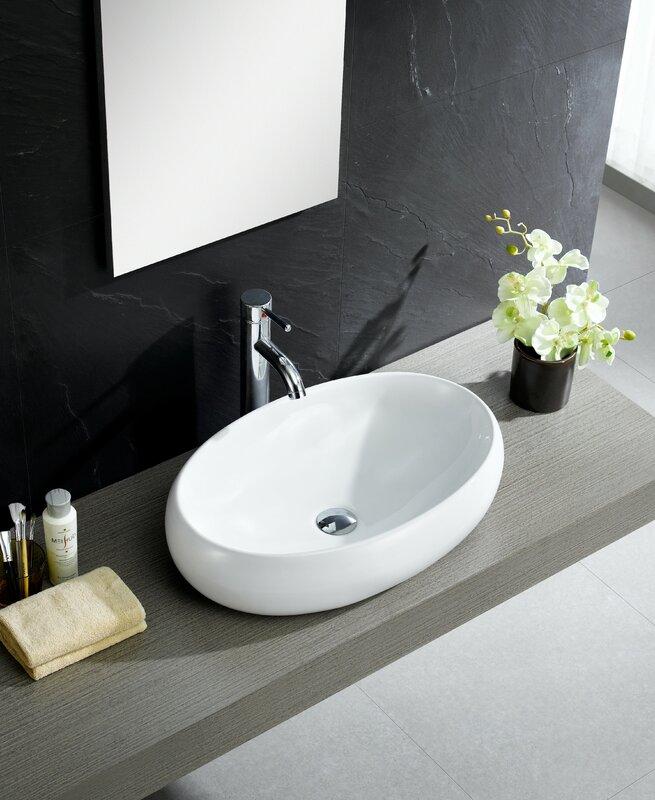 Fine Fixtures Modern Ceramic Oval Vessel Bathroom Sink & Reviews ...