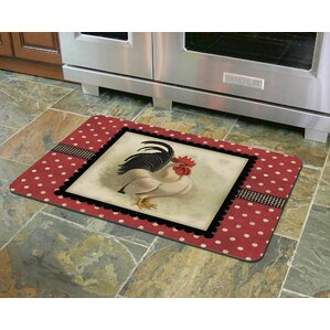 Twila Polka Dot Rooster Kitchen Mat