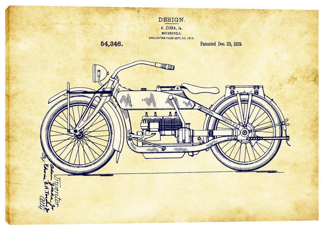 Epic graffiti vintage motorcycle patent blueprint graphic art on vintage motorcycle patent blueprint graphic art on wrapped canvas malvernweather Images