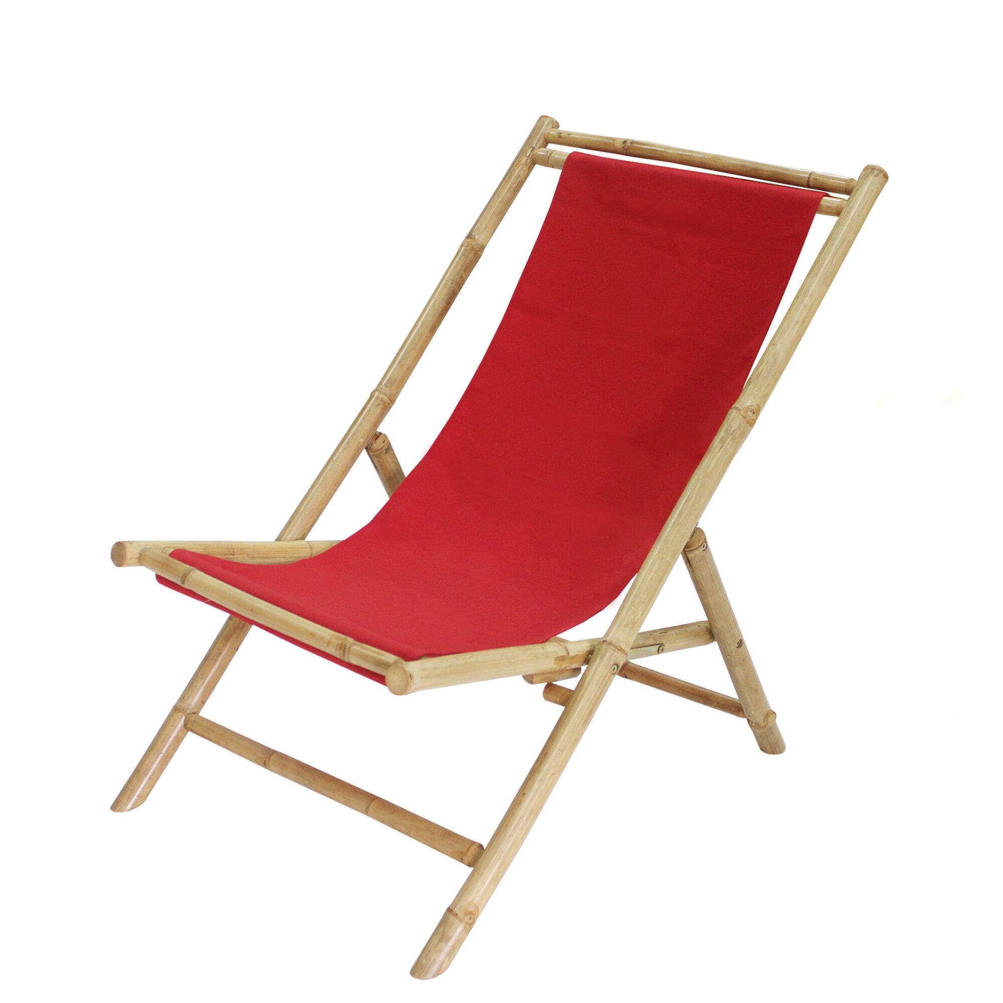 Bayou Breeze Atalya Folding Bamboo Relax Sling Beach Chair