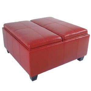 Cline Leather Storage Ottoman by Wade Logan
