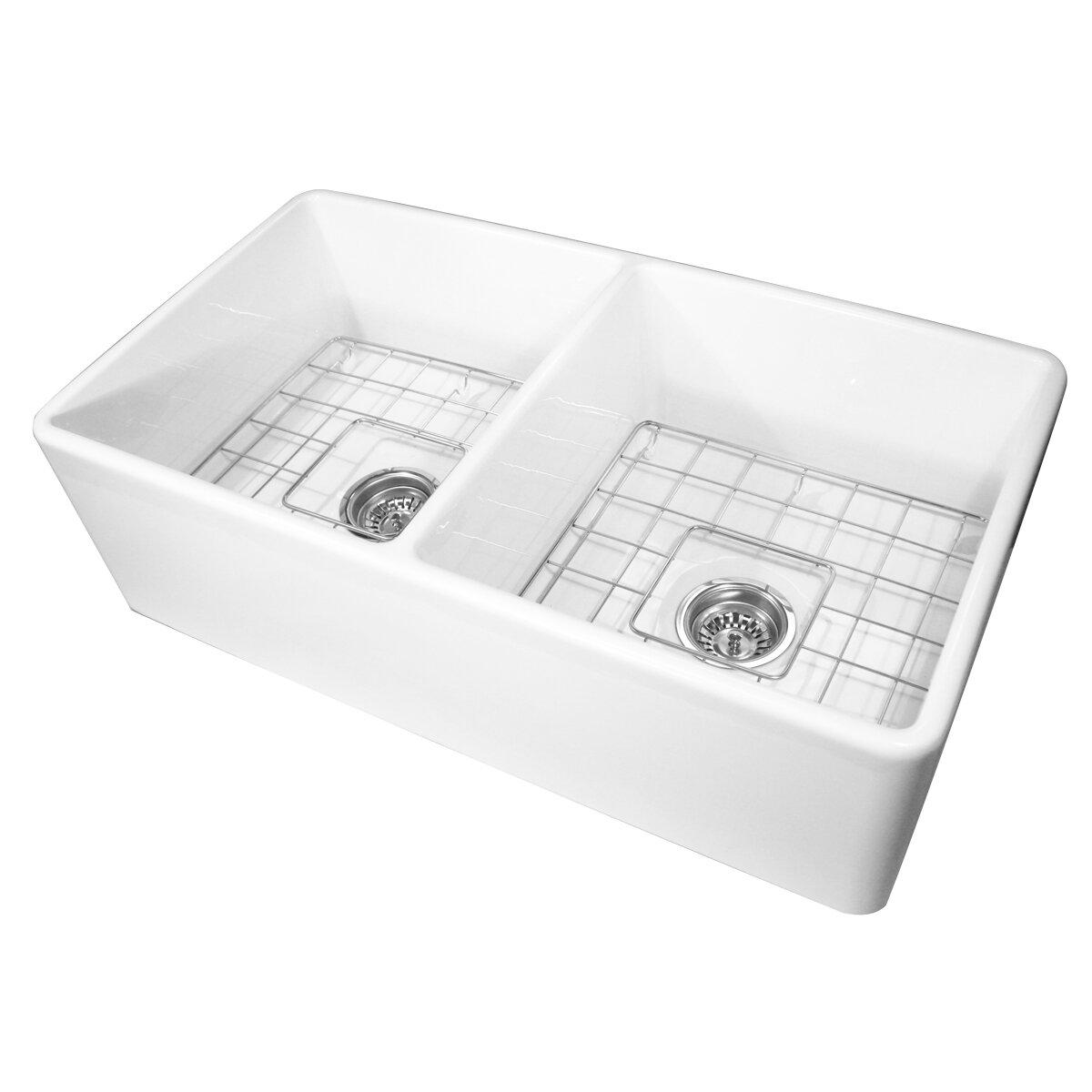 cape 33 x 18 double bowl kitchen sink with grids. Interior Design Ideas. Home Design Ideas