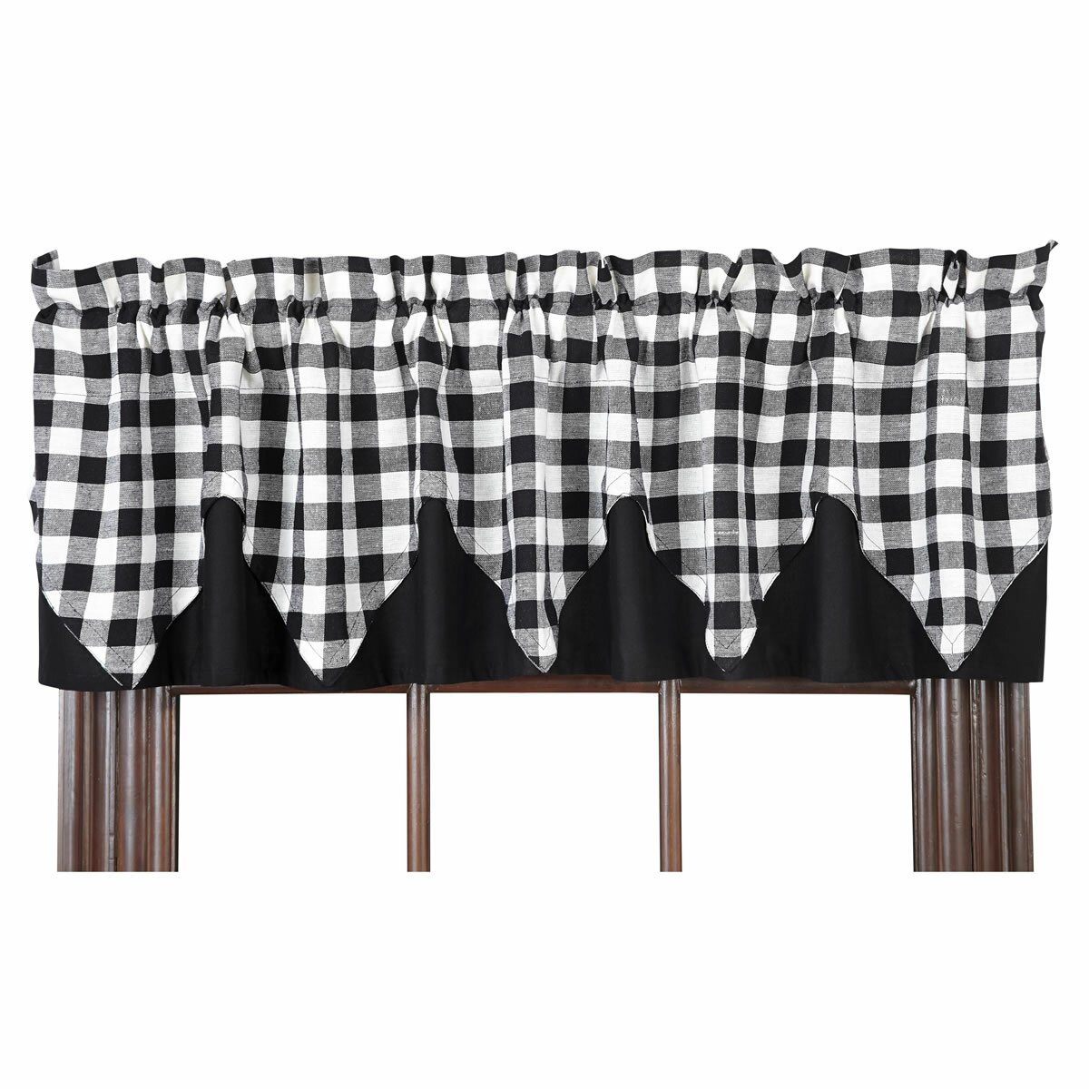 VHC Brands Buffalo Black Check Layered Lined Curtain