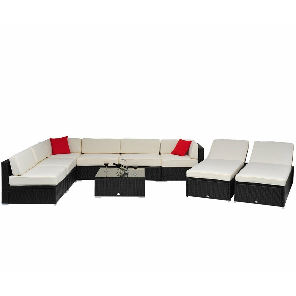Outsunny 9 Piece Lounge Seating Group with Cushion & Reviews