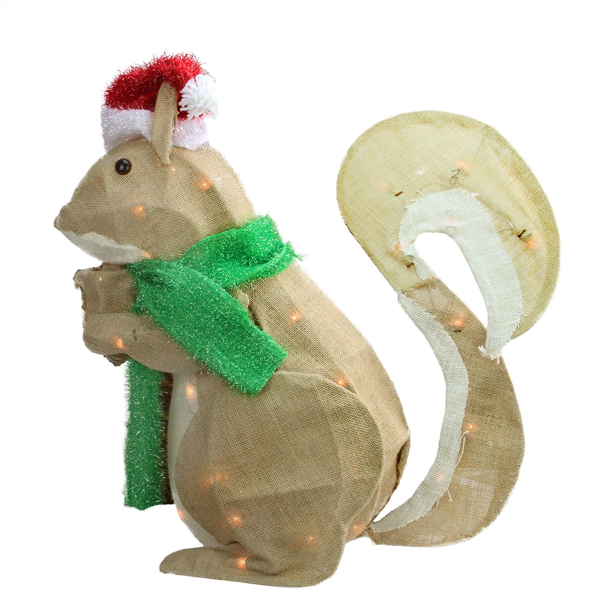 Northlight pre lit outdoor burlap squirrel christmas for Home hardware outdoor christmas decorations