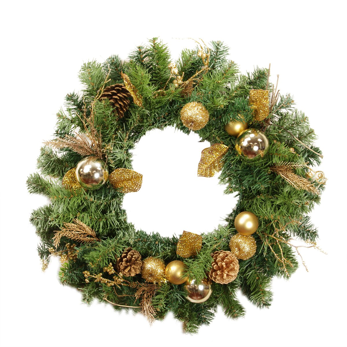 Christmas wreath ornaments - 24 Artificial Pine Cone Apple And Ball Ornament Christmas Wreath