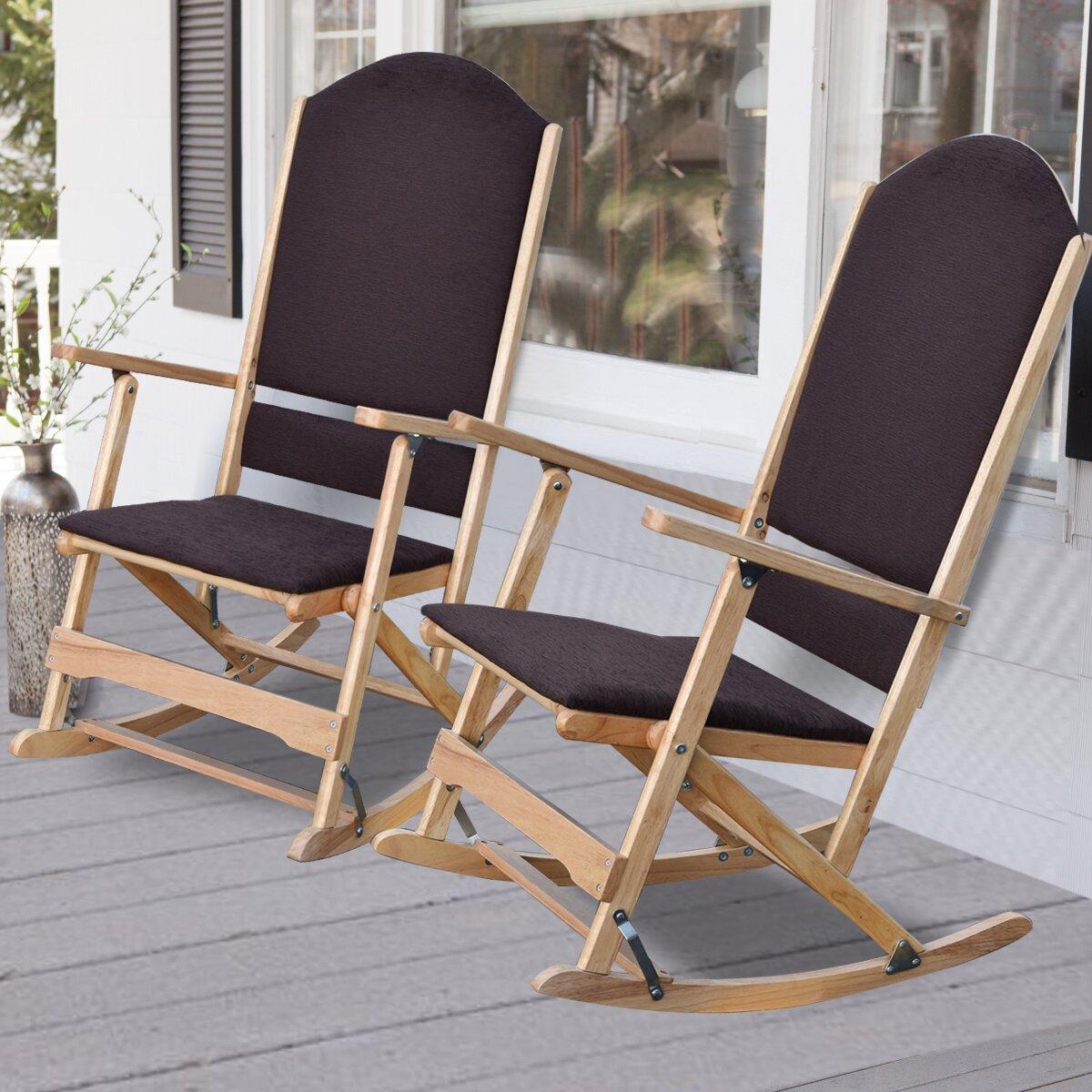 ... Folding Rocking Chairs - Wildon Home ® Cedar Creek Solid Wood Folding