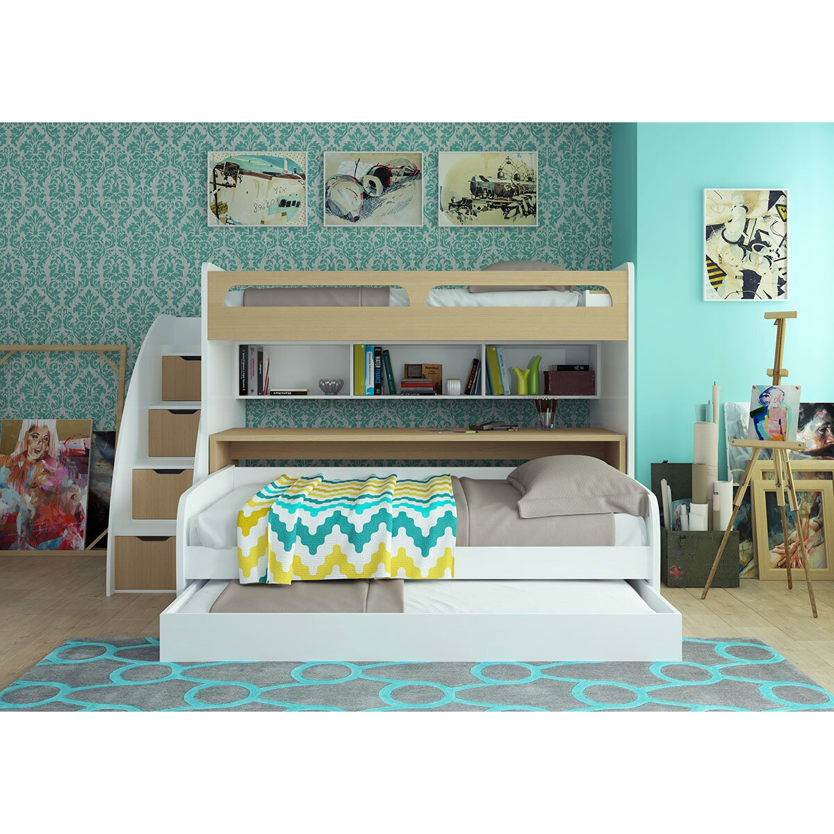 Bel Mondo Twin Bunk Bed With Trundle Amp Reviews Allmodern