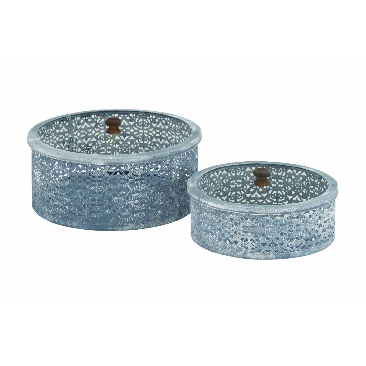 Metal glass with lids 2 piece decorative box set reviews for Decor containers coles