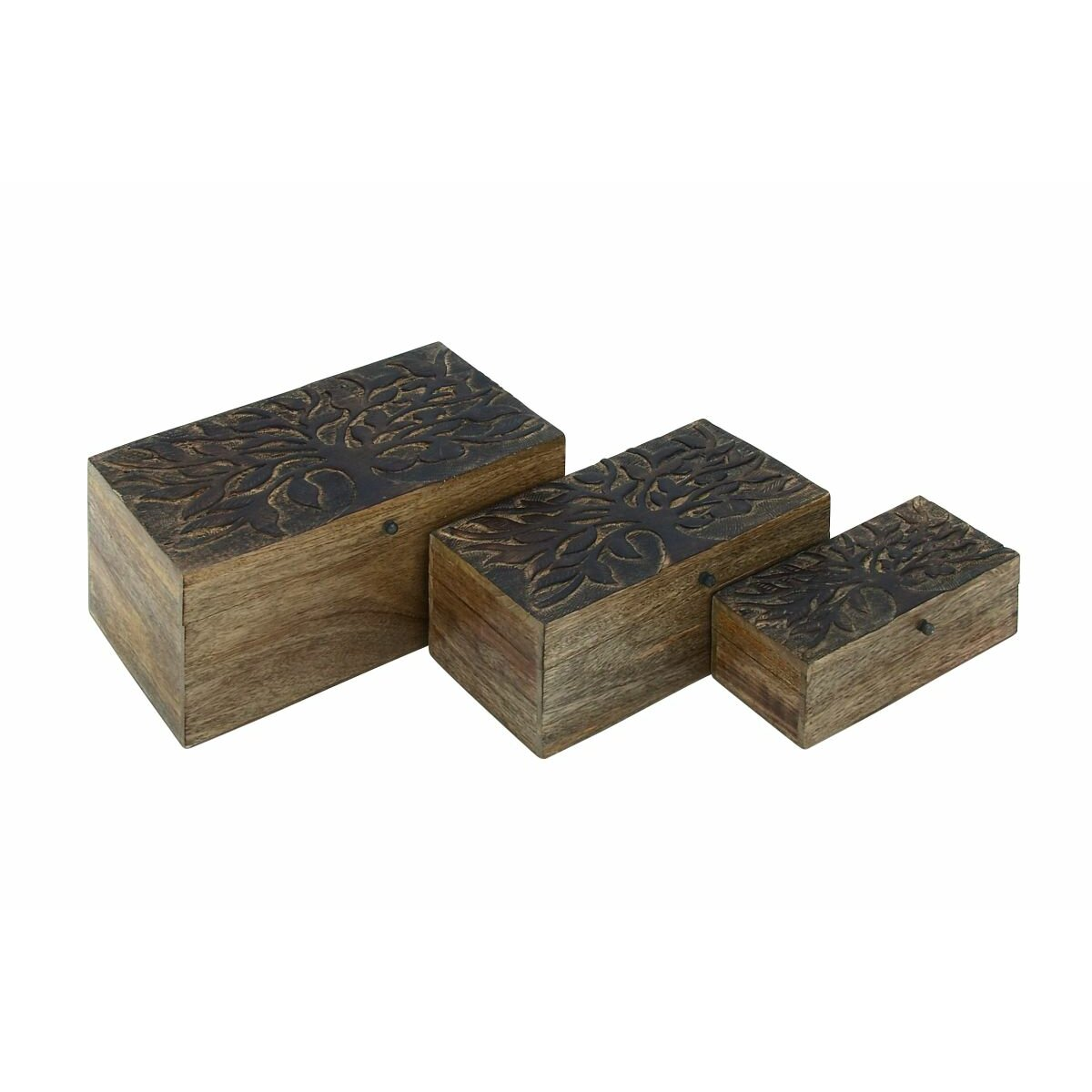 Cole grey 3 piece tree wood box set reviews for Decor containers coles