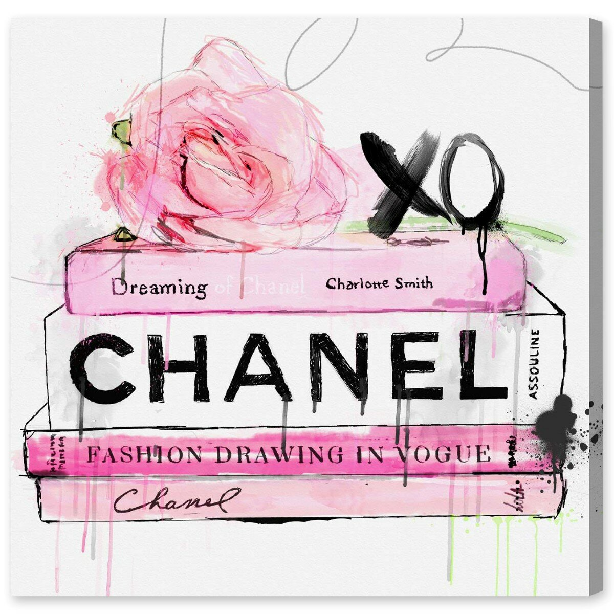 Dripping Roses And Chanel Canvas Print Oliver Gal
