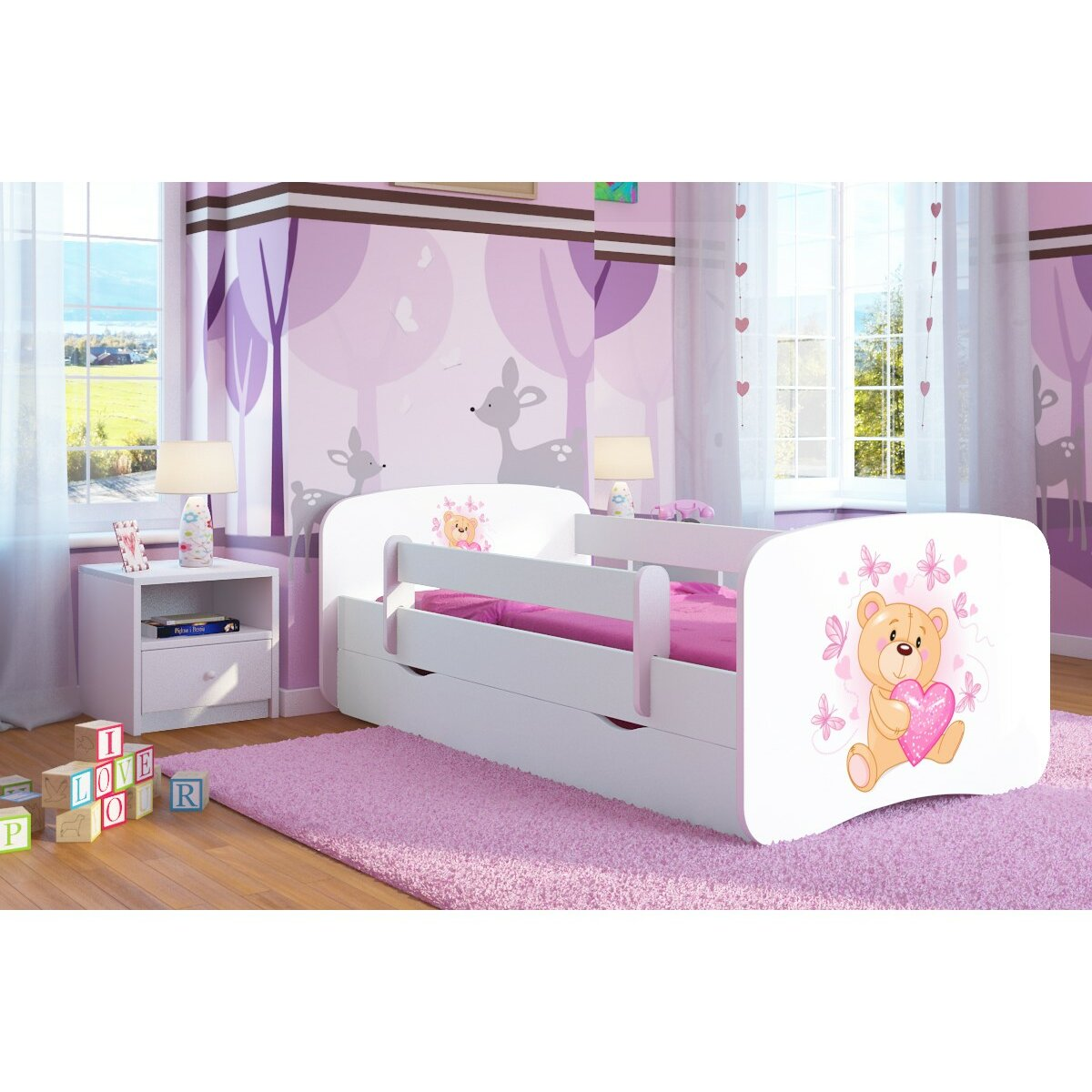 kocot kids kinderbett butterfly teddy mit matratze und. Black Bedroom Furniture Sets. Home Design Ideas