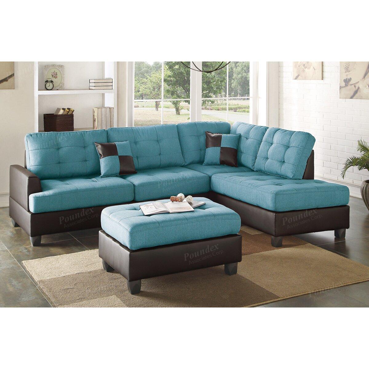 Poundex Sectional White Leather Sofa Chaise: Poundex Bobkona Matthew Reversible Chaise Sectional