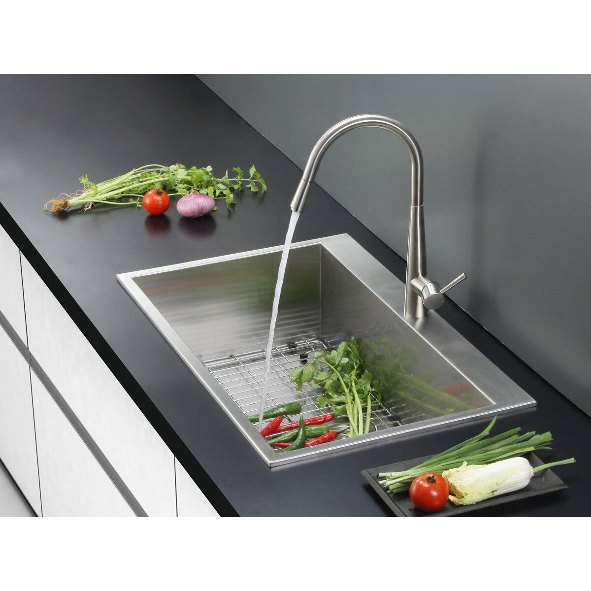 tirana 33 x 21 drop in single bowl kitchen sink - Kitchen Sink Drop In