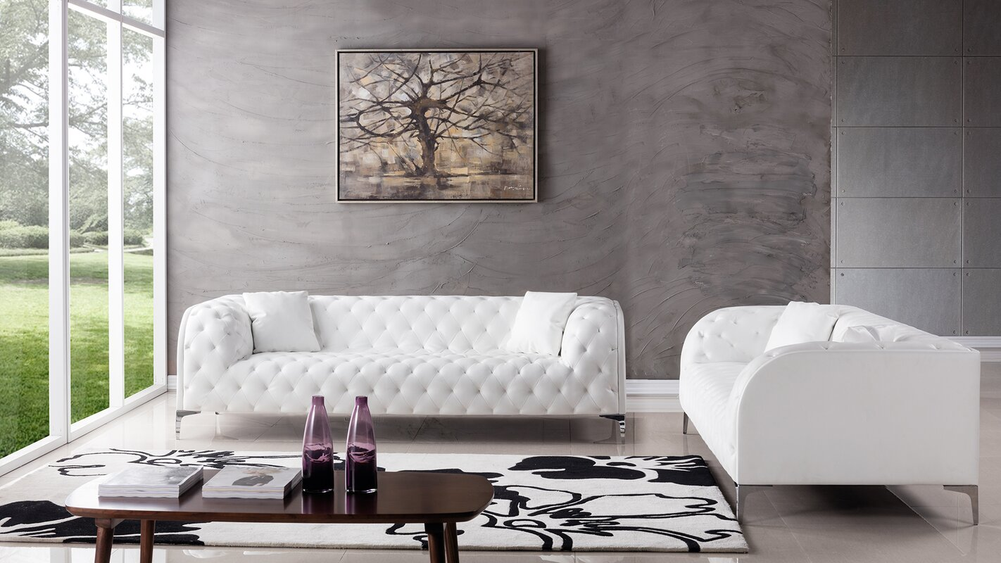 Dobson 2 piece living room set reviews allmodern for All white living room set
