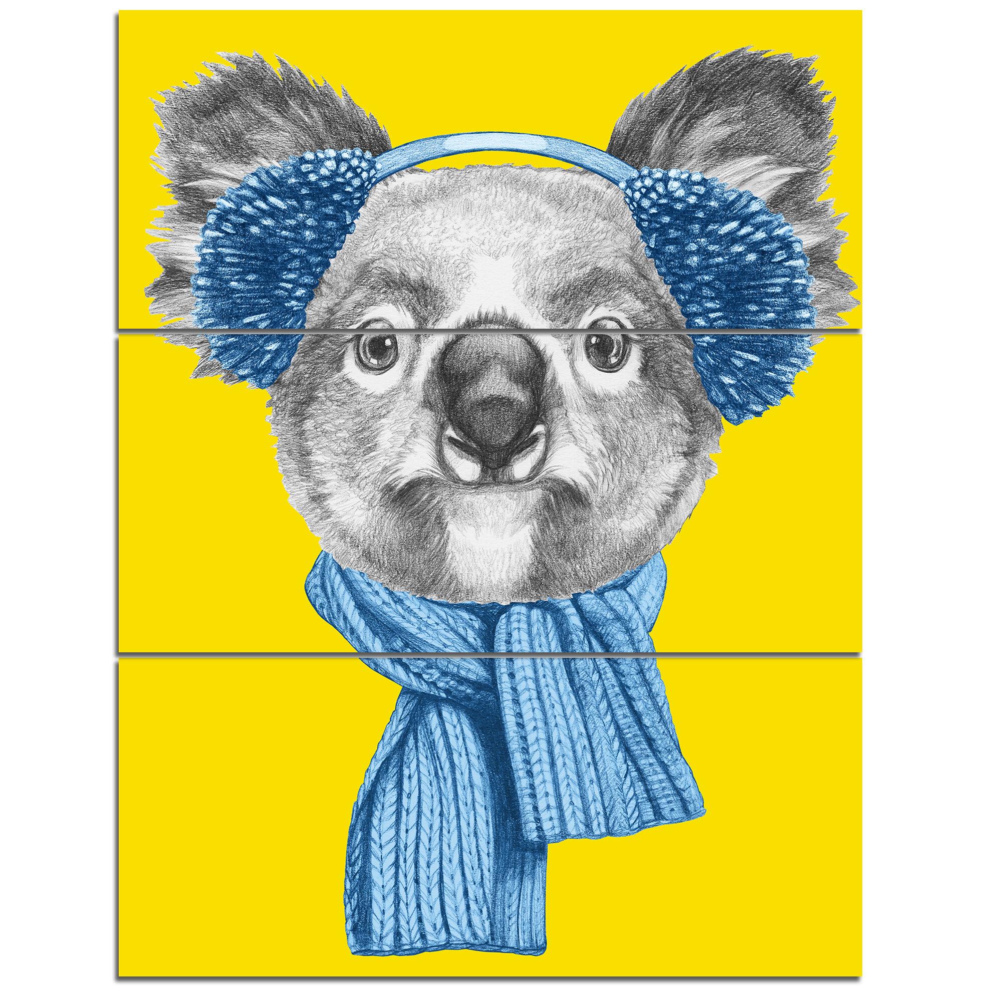 DesignArt \'Koala with Scarf and Earmuffs\' 3 Piece Wall Art on ...
