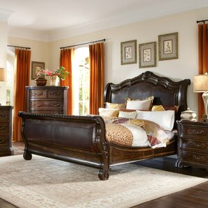 Evelyn Upholstered Sleigh Bed by Astor..