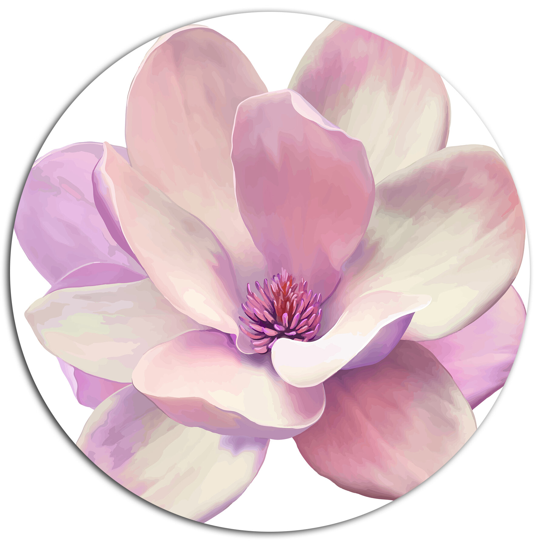 Designart Cute Light Pink Magnolia Flower Oil Painting Print On