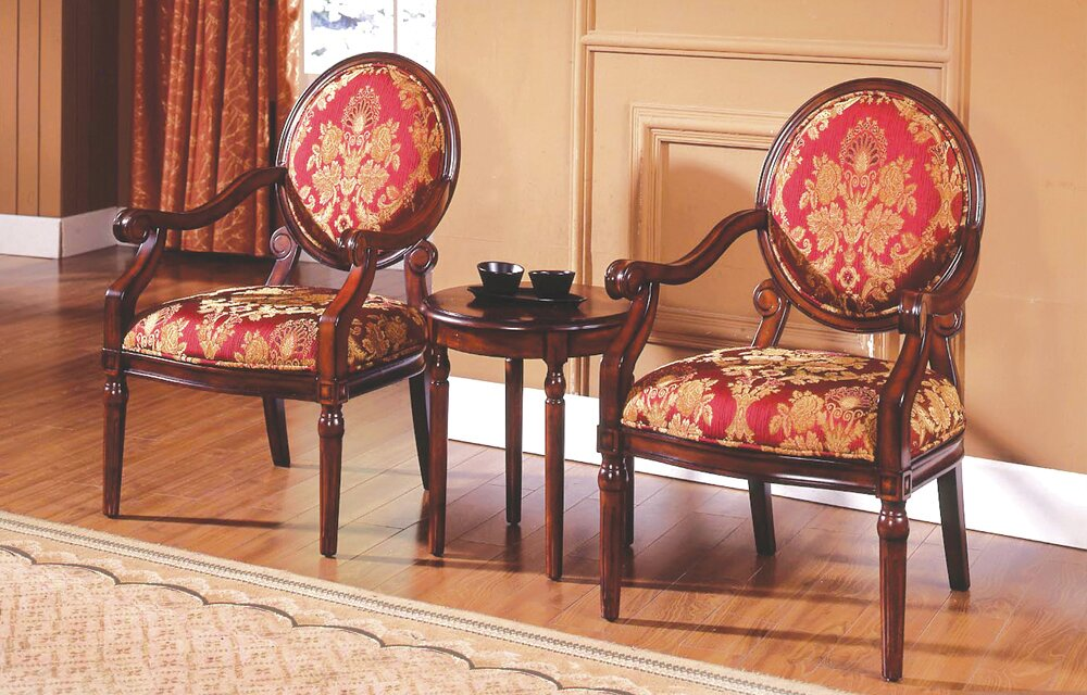 Ambassador 3 Pieces Living Room Armchair Set