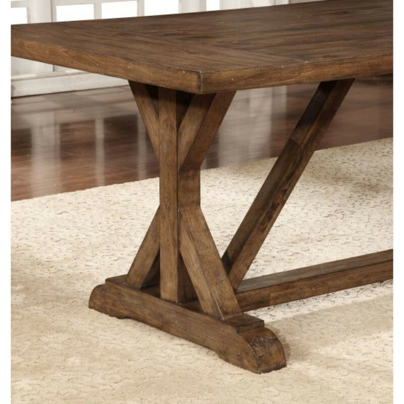 Gracie Oaks Squires Rustic Craftsman Base Solid Wood Dining Table