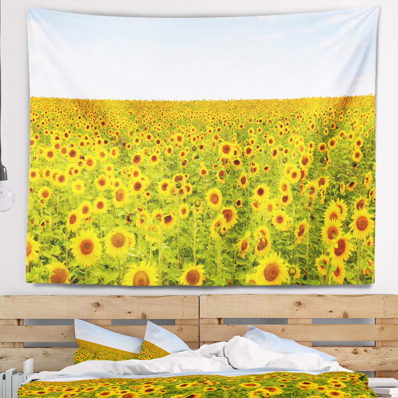 East Urban Home Beautiful Sunflowers Garden Tapestry and Wall ...