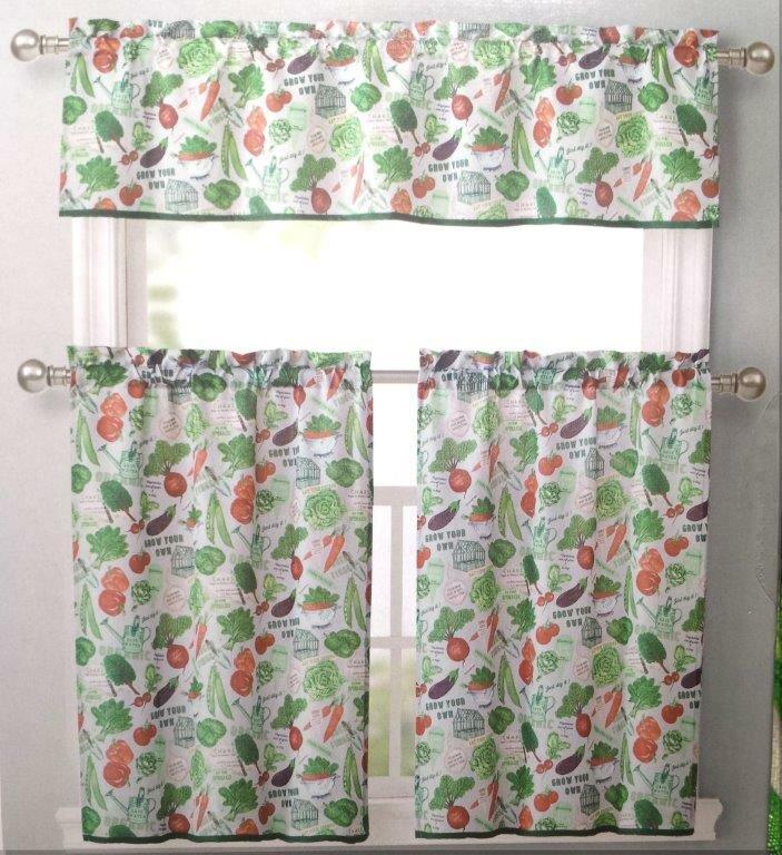 Superb Vegetable Garden Kitchen Curtains