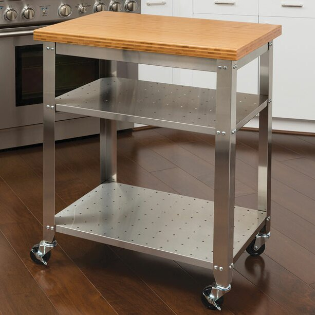 Red Barrel Studio Irene Kitchen Work Table Kitchen Cart with ...