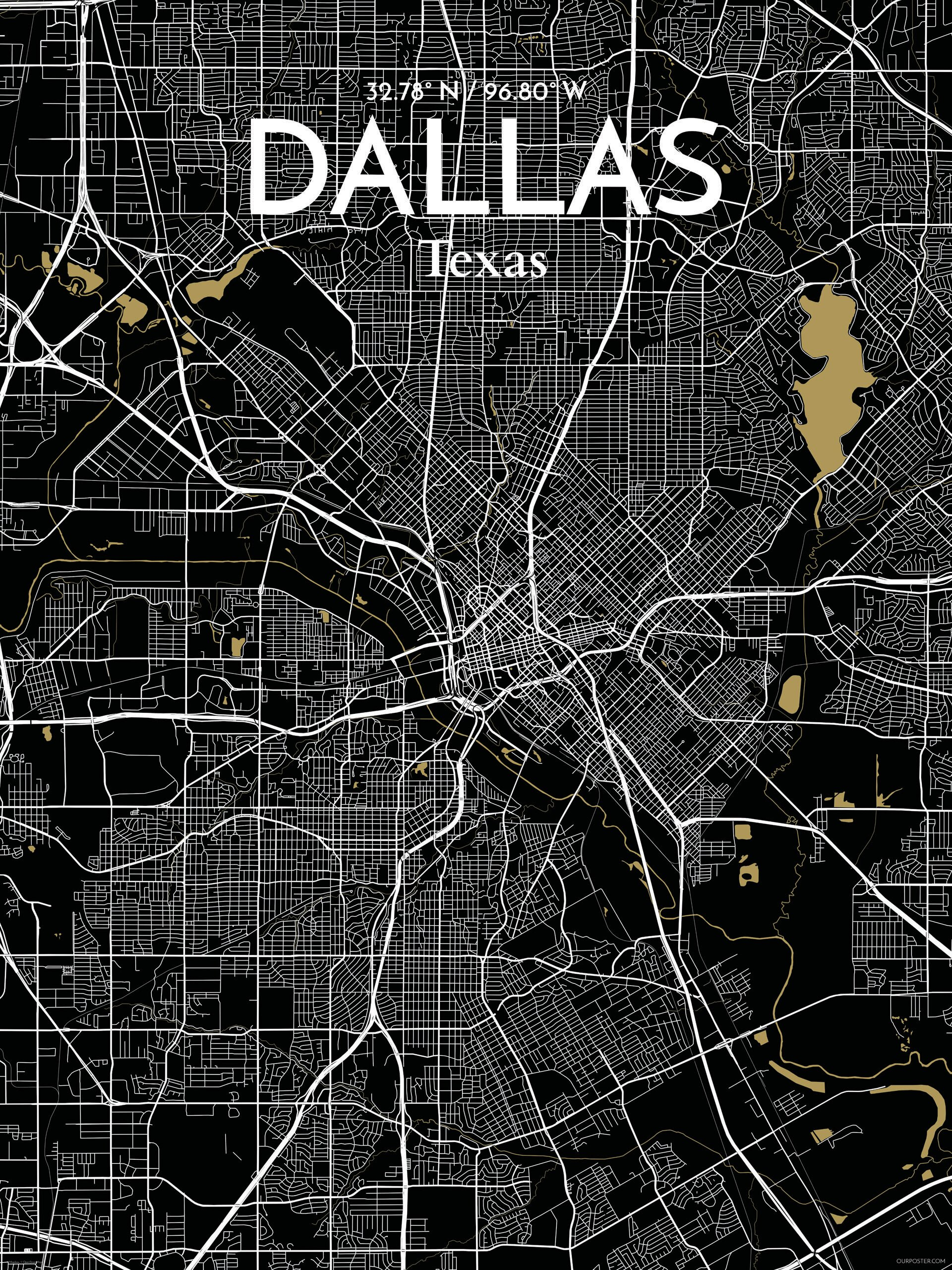 Ourposter Com Dallas City Map Graphic Art Print Poster In Luxe