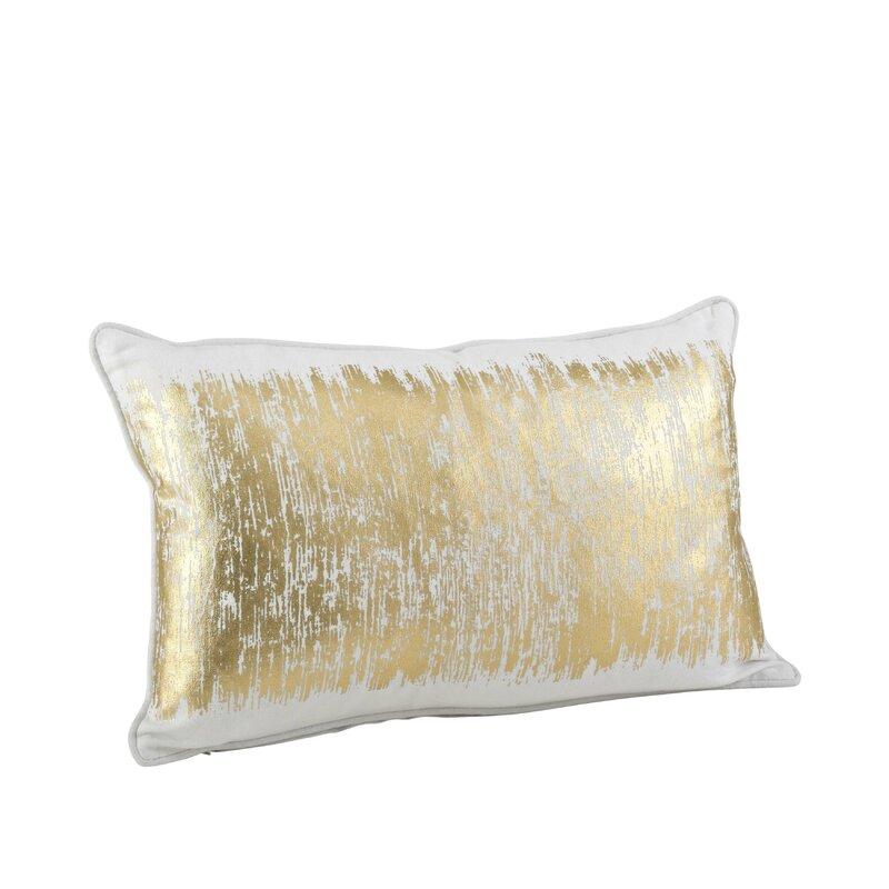Willa Arlo Interiors Garlan Metallic Banded Cotton Lumbar Pillow