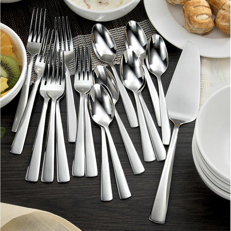 Chefu0027s Table 17 Piece Stainless Steel Dessert Flatware Set