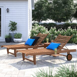 Chaises longues d\'extérieur: Ton du bois - Bois jaune moyen | Wayfair.ca
