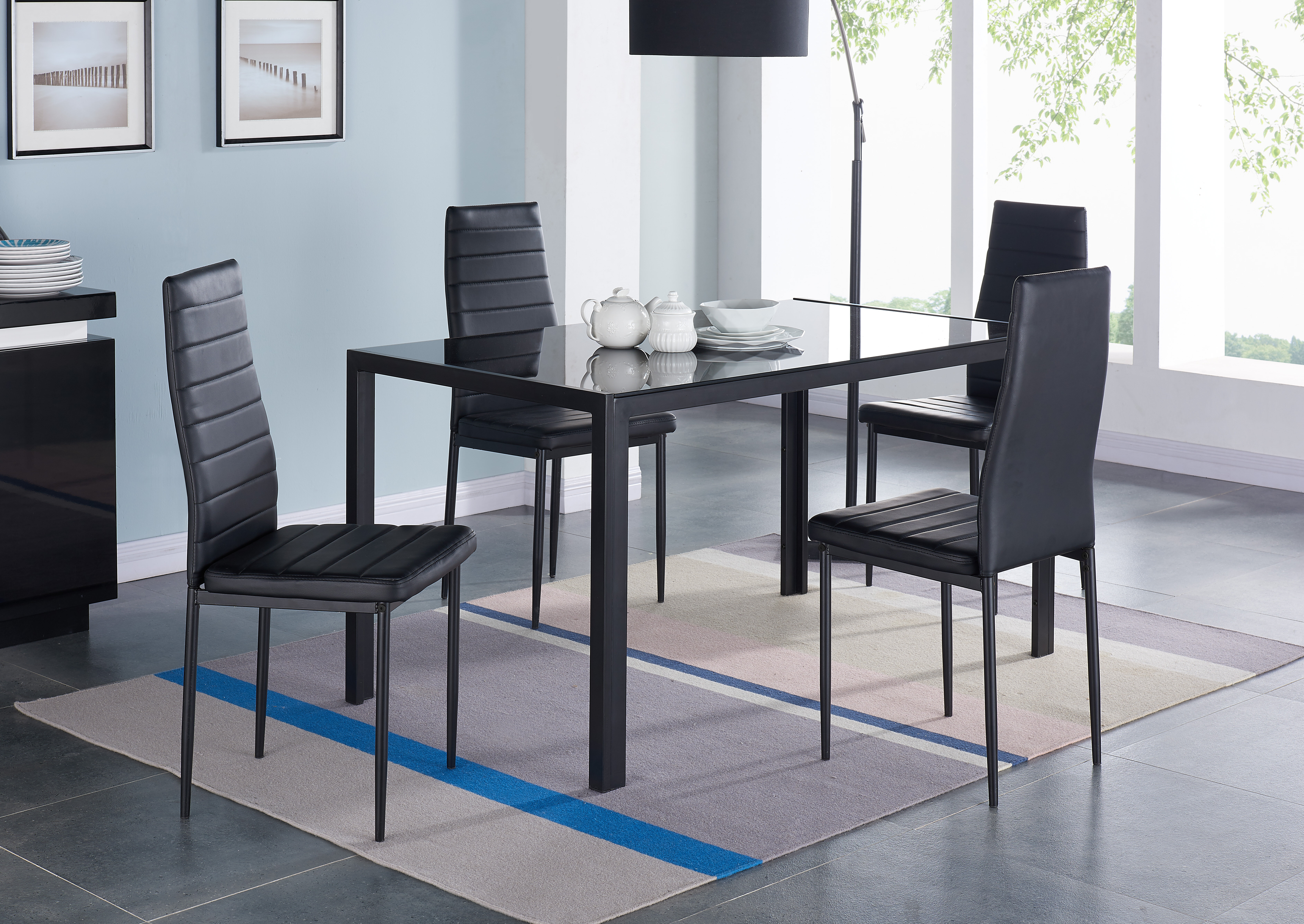 Wondrous Ulverston Glass Dining Table Set With 4 Chairs Download Free Architecture Designs Viewormadebymaigaardcom