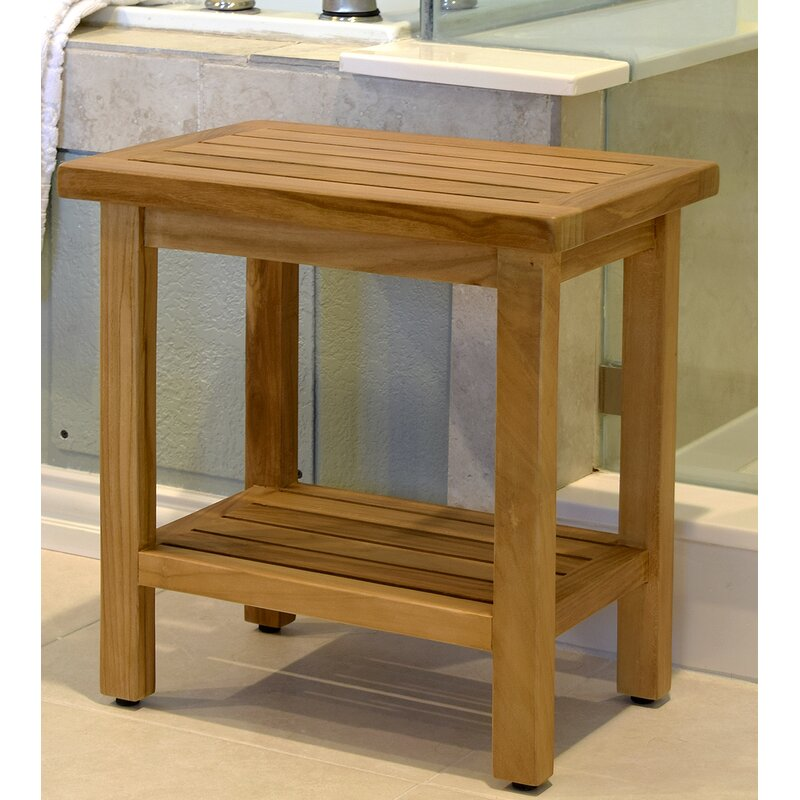 Asta Furniture, Inc. Spa Teak Wooden Free Standing Shower Seat | Wayfair