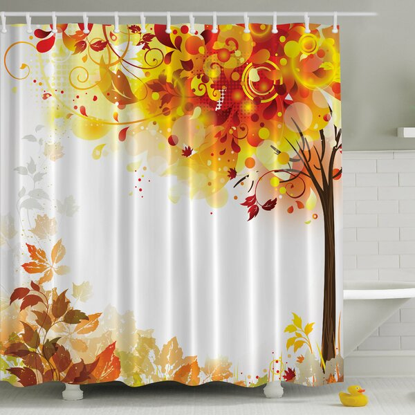 Ambesonne Fall Leaves Print Shower Curtain Wayfair Ca