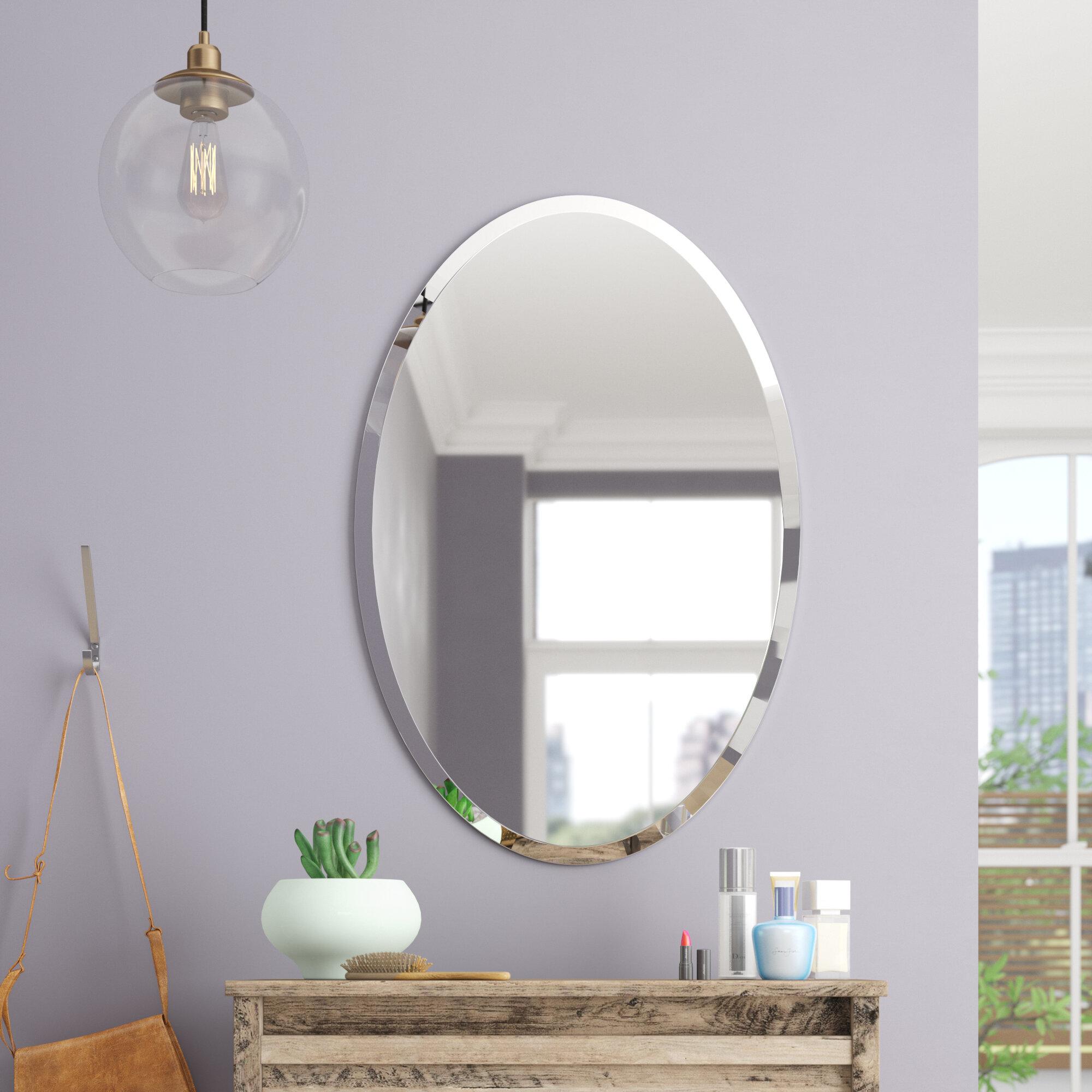 Brayden Studio Thornbury Oval Bevel Frameless Wall Mirror Reviews Wayfair