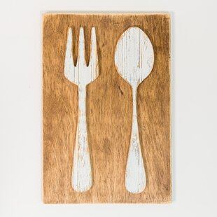 Big fork and spoon wall decor wayfair fork and spoon farmhouse wall dcor ppazfo
