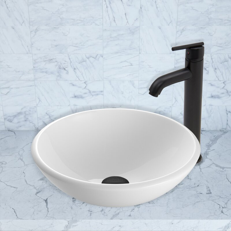 Vigo phoenix glass circular vessel bathroom sink with for Are vessel sinks out of style