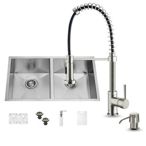VIGO 32 inch Undermount Single Bowl 16 Gauge Stainless Steel Kitchen Sink with Edison Chrome Faucet, Grid, Strainer and So...