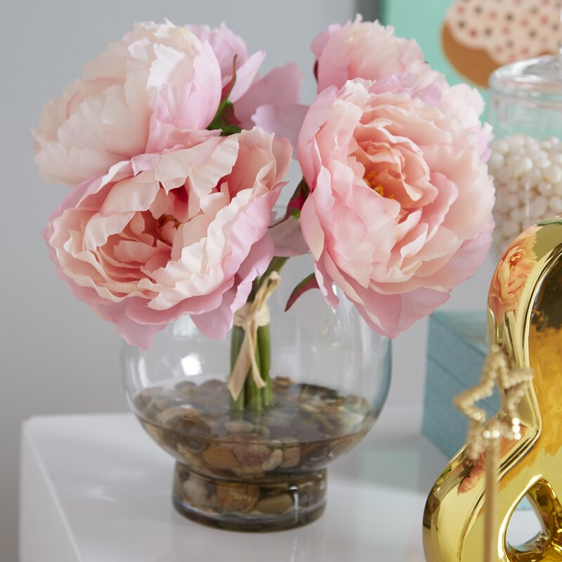 Peonies In A Glass Vase With River Rocks And Faux Water Reviews