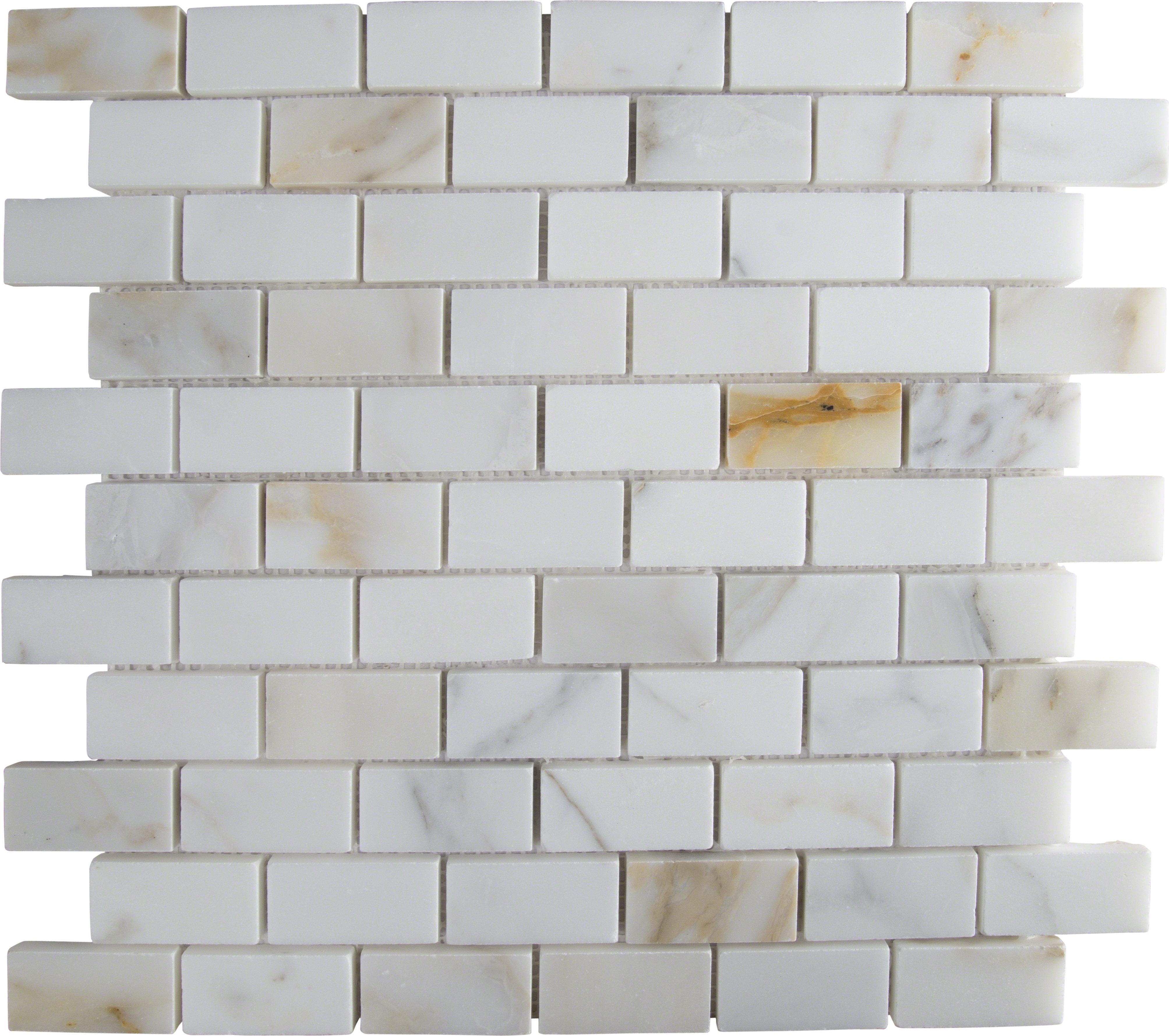 Msi Calacatta Gold Mounted 1 X 2 Marble Mosaic Tile In White Reviews Wayfair