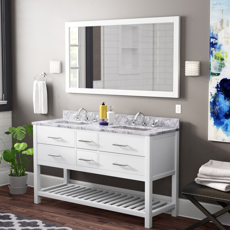 Rishaan Modern 61 Double Bathroom Vanity Set With Mirror