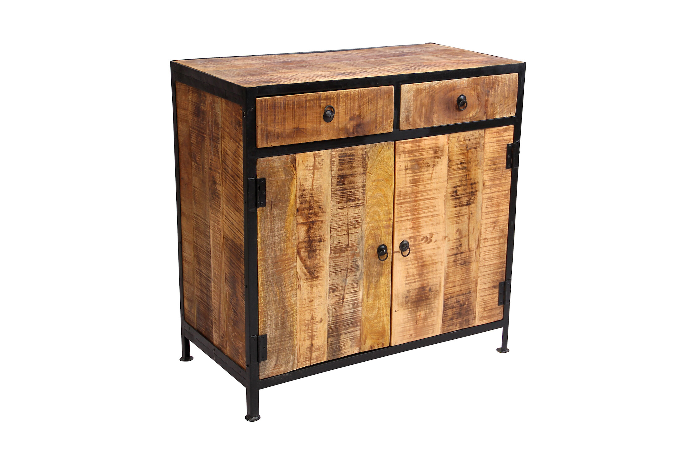 Millwood Pines Dante Industrial Reclaimed Wood and Iron 2 Drawer ...