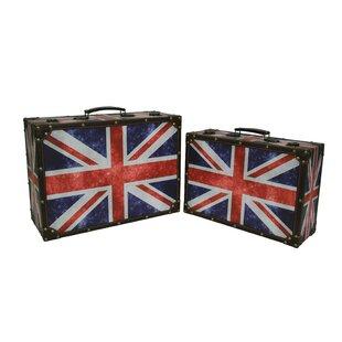 Elegant Baumann 2 Piece Union Jack Suitcase Trunk Set Home Design Ideas