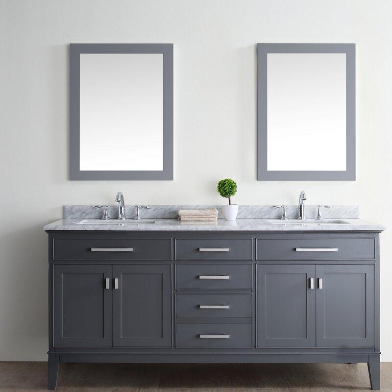 """Bathroom Vanities Double ari kitchen & bath danny 72"""" double bathroom vanity set & reviews"""