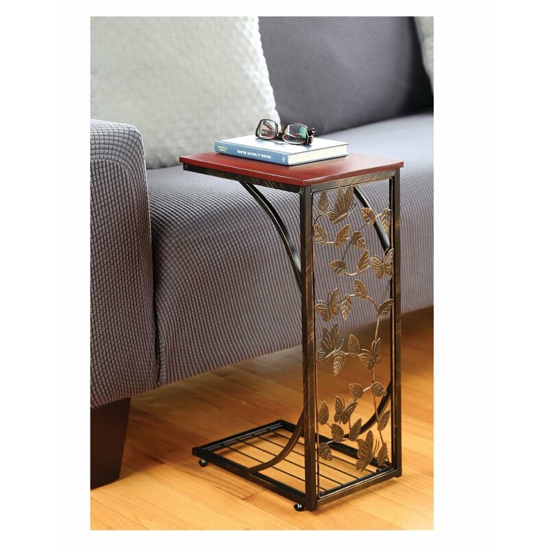 Andelain Sliding Snack Laptop Writing Console Table