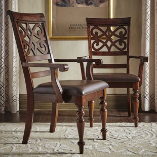 Leopoldo Armed Upholstered Dining Chair (Set of 2)