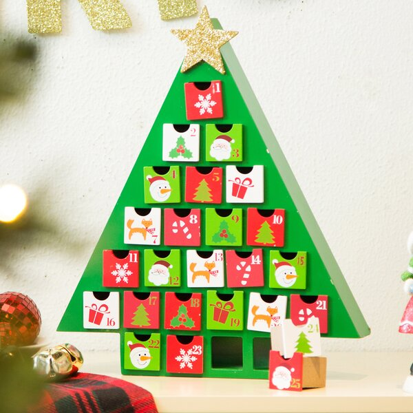 The Holiday Aisle Wooden Tree Count Down Calendar With