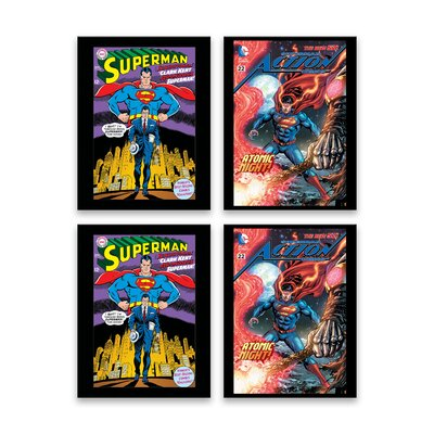 'Superman Comic Covers' 4 Piece Graphic Art Print Set on Canvas